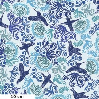 Tissu patchwork colibris bleus fond écru - Murmur de Valori Wells