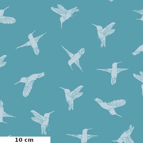 Tissu patchwork colibris en vol fond turquoise - Murmur de Valori Wells