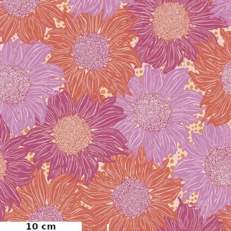 Tissu patchwork tournesols rose orange - Murmur de Valori Wells
