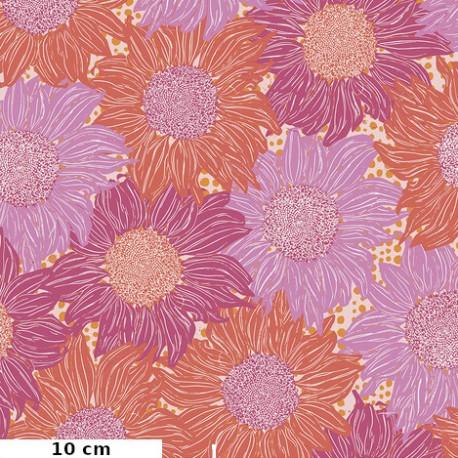Tissu patchwork tournesols rose orange - Murmur de Valori Wells