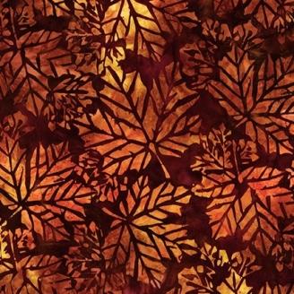 Tissu Batik feuilles d'érable fond chocolat