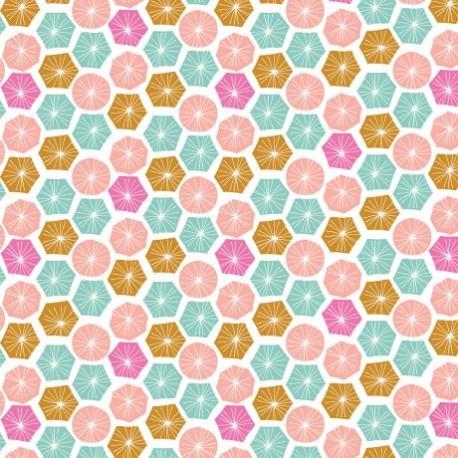 Tissu patchwork ronds et hexagones multico fond écru