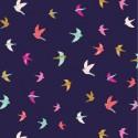Tissu patchwork hirondelles fond marine - Summer Dance
