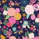 Tissu patchwork floraison multico fond marine - Summer Dance