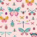 Tissu patchwork insectes fond rose pâle - Summer Dance