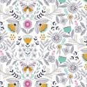 Tissu patchwork fleurs et papillons fond blanc - Summer Dance