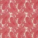 Tissu patchwork classique cachemire rouge fond écru - Cinnaberry de 3 Sisters