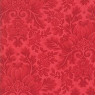 Tissu patchwork classique fleurs rouges ton sur ton - Cinnaberry de 3 Sisters