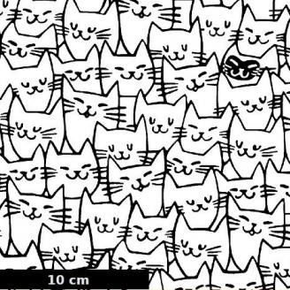 Tissu patchwork chats blancs contours noirs - Cat Happy