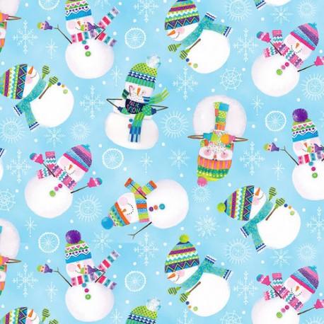 Tissu patchwork Noël Bonshommes de neige fond bleu ciel - By Golly, Get Jolly !