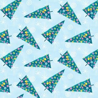 Tissu patchwork sapins de Noël fond bleu clair - By Golly, Get Jolly !