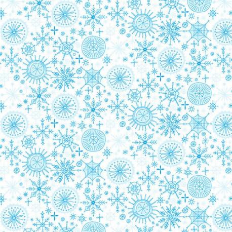 Tissu patchwork Noël flocons bleus fond blanc - By Golly, Get Jolly !
