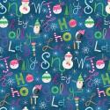 Tissu patchwork Noël bonshommes de neige et écritures fond bleu  - By Golly, Get Jolly !