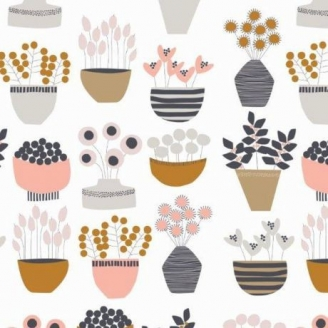 Tissu patchwork plantes en pot fond écru - Flourish