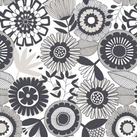 Tissu patchwork marguerites noir et gris fond écru - Flourish