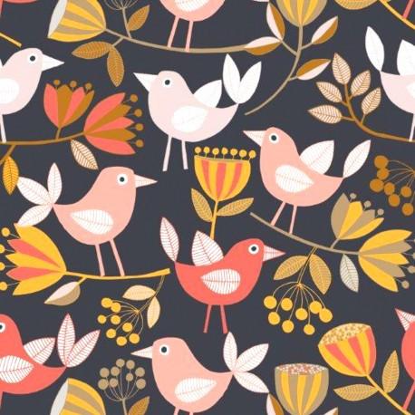 Tissu patchwork oiseaux rouges et corail fond noir - Flourish