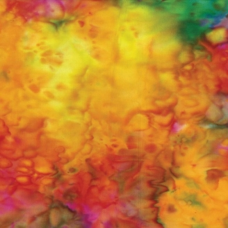 Tissu batik marbré orange/fuchsia/vert