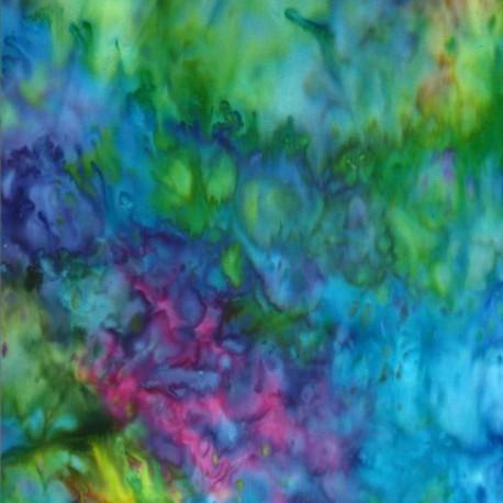 Tissu batik marbré bleu/vert/violet