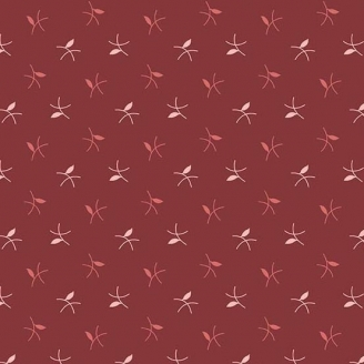 Tissu patchwork brindilles fond bordeaux - Braveheart d'Edyta Sitar