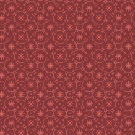 Tissu patchwork mosaïque de fleurs fond bordeaux - Braveheart d'Edyta Sitar