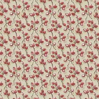 Tissu patchwork bourgeons rouges fond beige - Braveheart d'Edyta Sitar