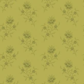 Tissu patchwork fleurs sauvages fond vert olive - Evergreen d'Edyta Sitar
