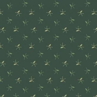 Tissu patchwork brindilles fond vert foncé - Evergreen d'Edyta Sitar