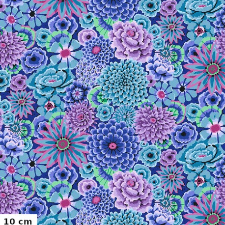 Tissu Kaffe Fassett grandes fleurs Enchanted bleu GP172
