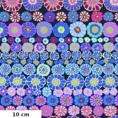 Tissu Kaffe Fassett rangs de fleurs Row flowers bleu GP169