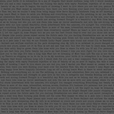 Tissu patchwork écritures fond gris anthracite Path Love - Sunprints d'Alison Glass