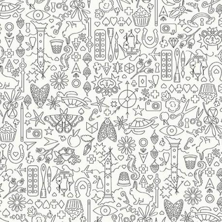 Tissu patchwork collection de motifs gris foncé fond blanc - Sunprints d'Alison Glass