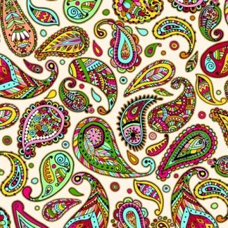 Tissu patchwork motif cachemire multico fond crème - Fiorella