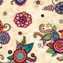 Tissu patchwork mandalas multico fond crème - Fiorella