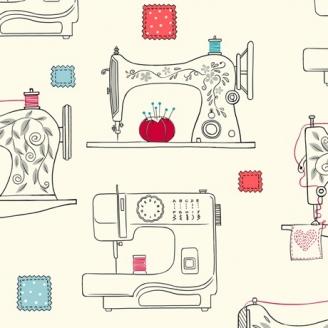 Tissu patchwork machines à coudre fond crème - Sew What ?