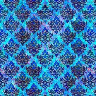 Tissu patchwork médaillon floral fond bleu - Pandora