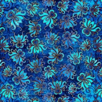 Tissu patchwork fleur de lotus fond bleu - Pandora