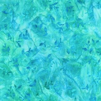 Tissu Batik feuilles ton sur ton bleu aqua