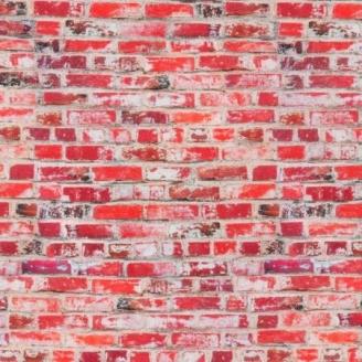 Tissu imprimé imitation mur de briques rouges