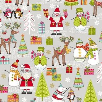 Tissu patchwork scène de Noël - Festive