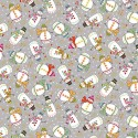 Tissu patchwork bonshommes de neige fond gris - Festive