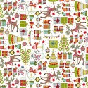 Tissu patchwork bonshommes, rennes et sapins fond blanc - Festive