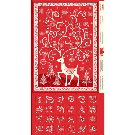 Calendrier de l'Avent renne rouge scandinave