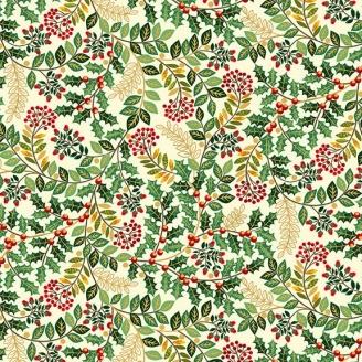 Tissu patchwork gui et houx fond crème - Deck the halls