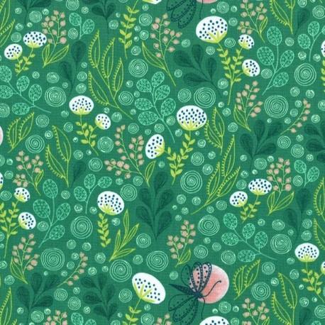 Tissu patchwork jardin fleuri coloris vert - Abloom