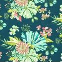 Tissu patchwork grandes fleurs Grace fond vert sapin - Abloom