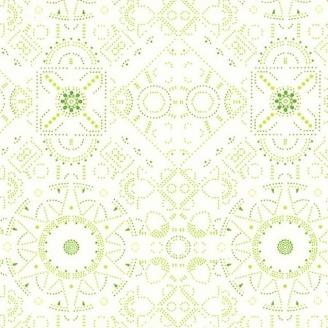 Tissu patchwork motif géométrique vert fond blanc - Abloom