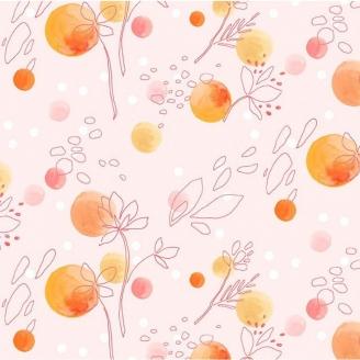 Tissu patchwork fleurs dans le vent coloris pêche - Abloom