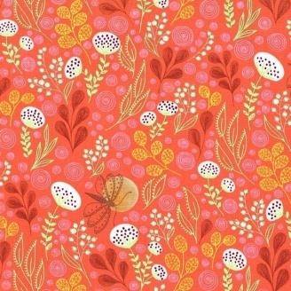 Tissu patchwork jardin fleuri coloris orange - Abloom