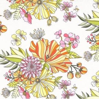 Tissu patchwork grandes fleurs Grace fond blanc - Abloom