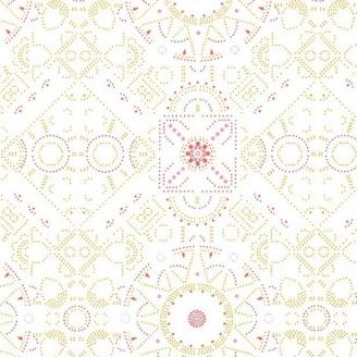 Tissu patchwork motif géométrique pêche fond blanc - Abloom